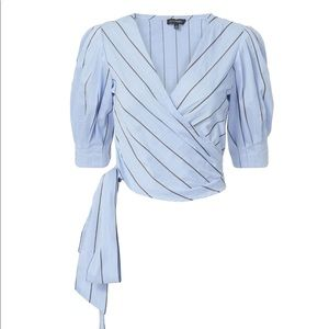 INTERMIX Elsie Striped Wrap Tie Top